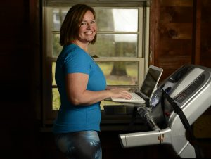Monica Banks of Gugu Guru on Treadmill Desk
