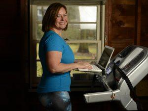Monica Banks of Gugu Guru on Treadmill Desk