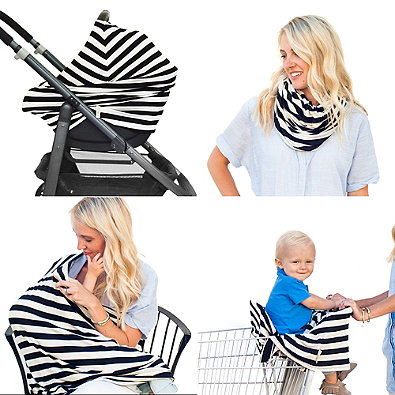 Covered Goods™ 4-in-1 Multi-Use Cover in Black/Ivory Stripes