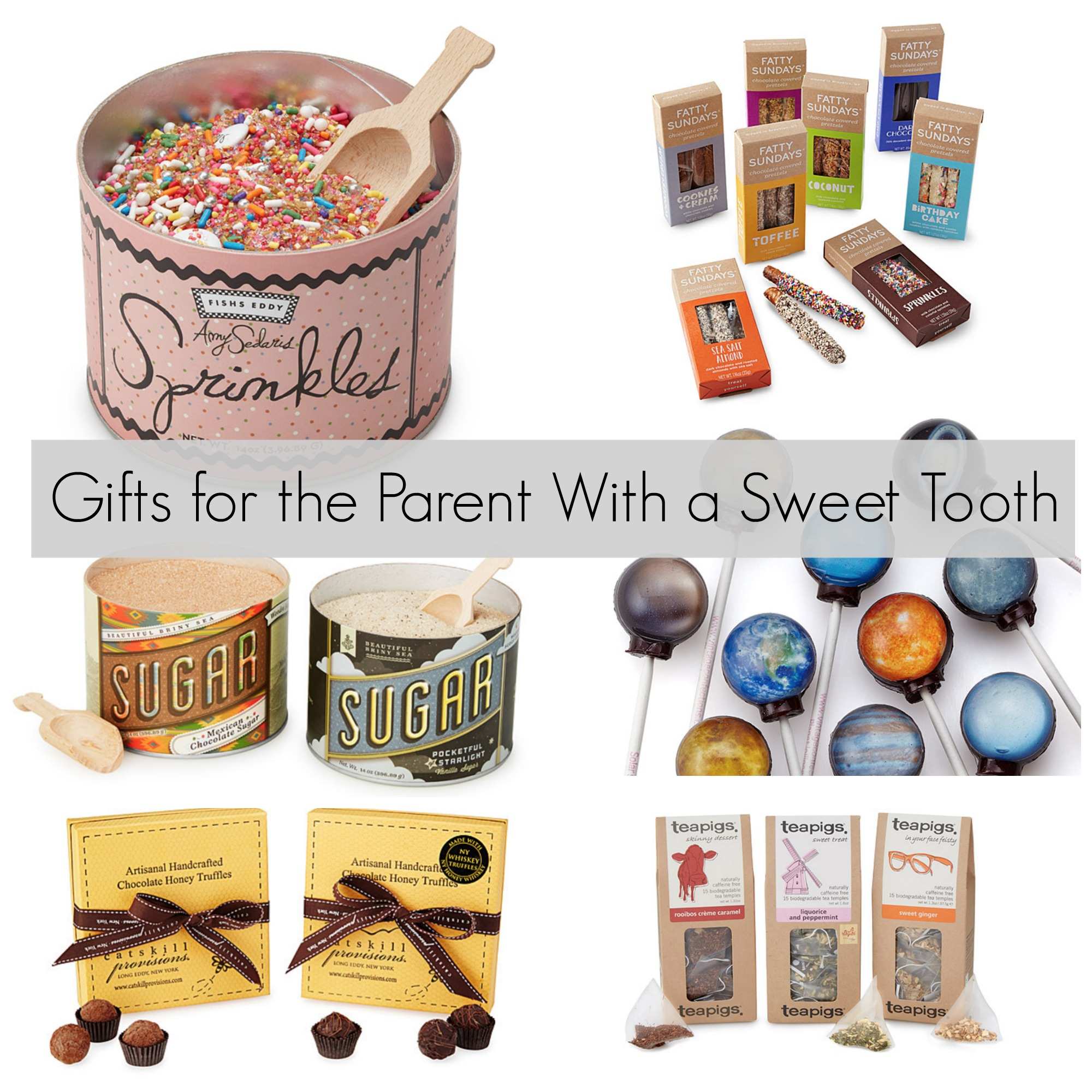 Gifts For The Parent With A Sweet Tooth Party Sprinkles Gourmet Chocolate Covered Pretzels And Vanilla Cane Sugar Planet Lollipops