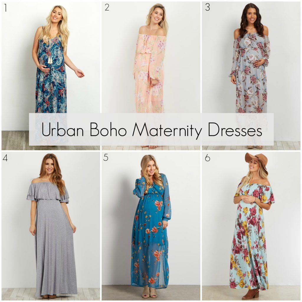 10297854d1f Navy Paisley Tie Front Maternity Maxi Dress  2. Peach Floral Off Shoulder  Maternity Maxi Dress  3. Grey Floral Off Shoulder Maternity Maxi Dress  4.