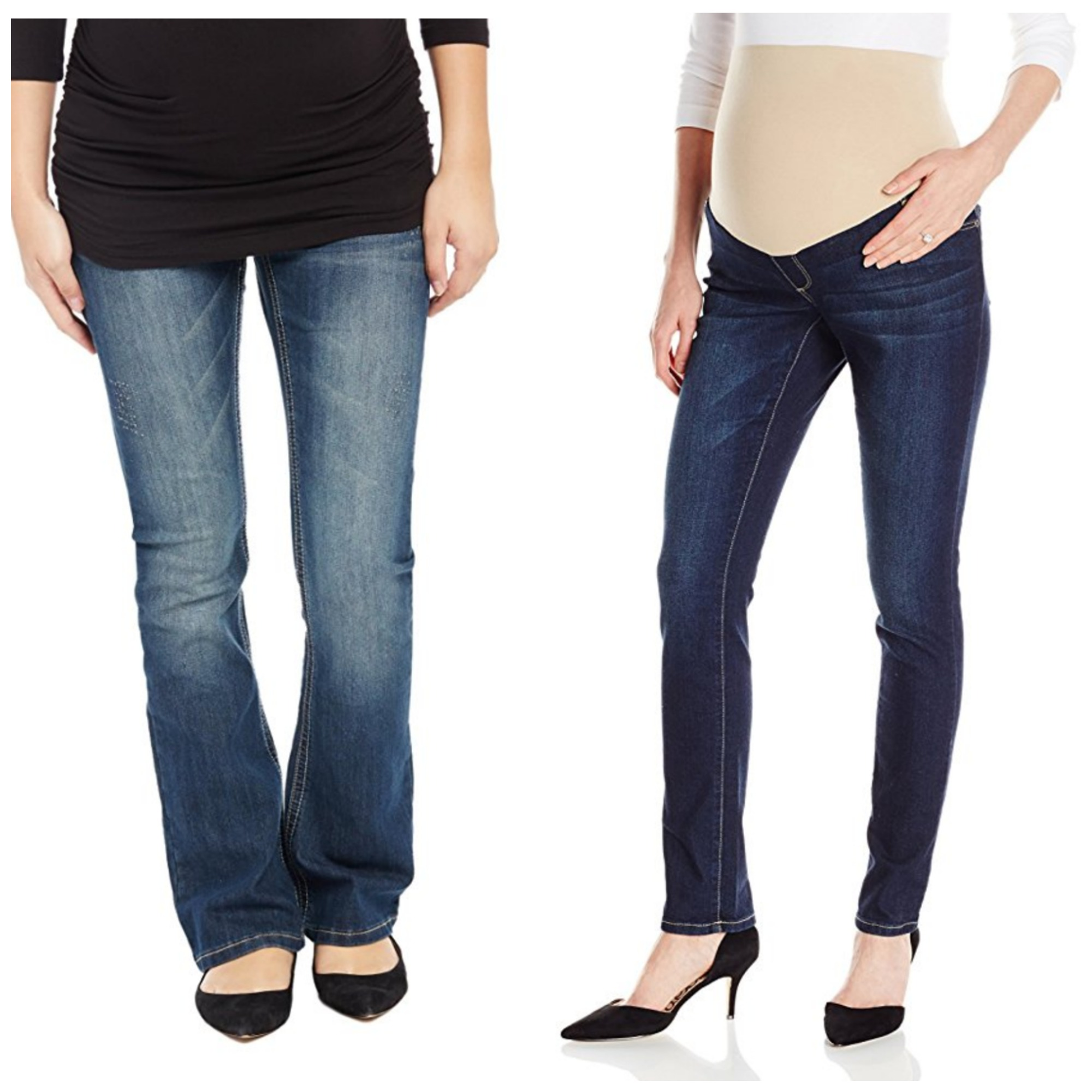 70ef5218f51c1 Left: Motherhood Secret Fit Belly Stitched Pocket Boot Cut Maternity Jeans,  $50 – these were our editor's favorite jeans for pregnancy; she wore them  ...